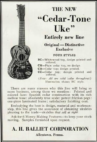 advertisment for A H Balliet Ukuleles